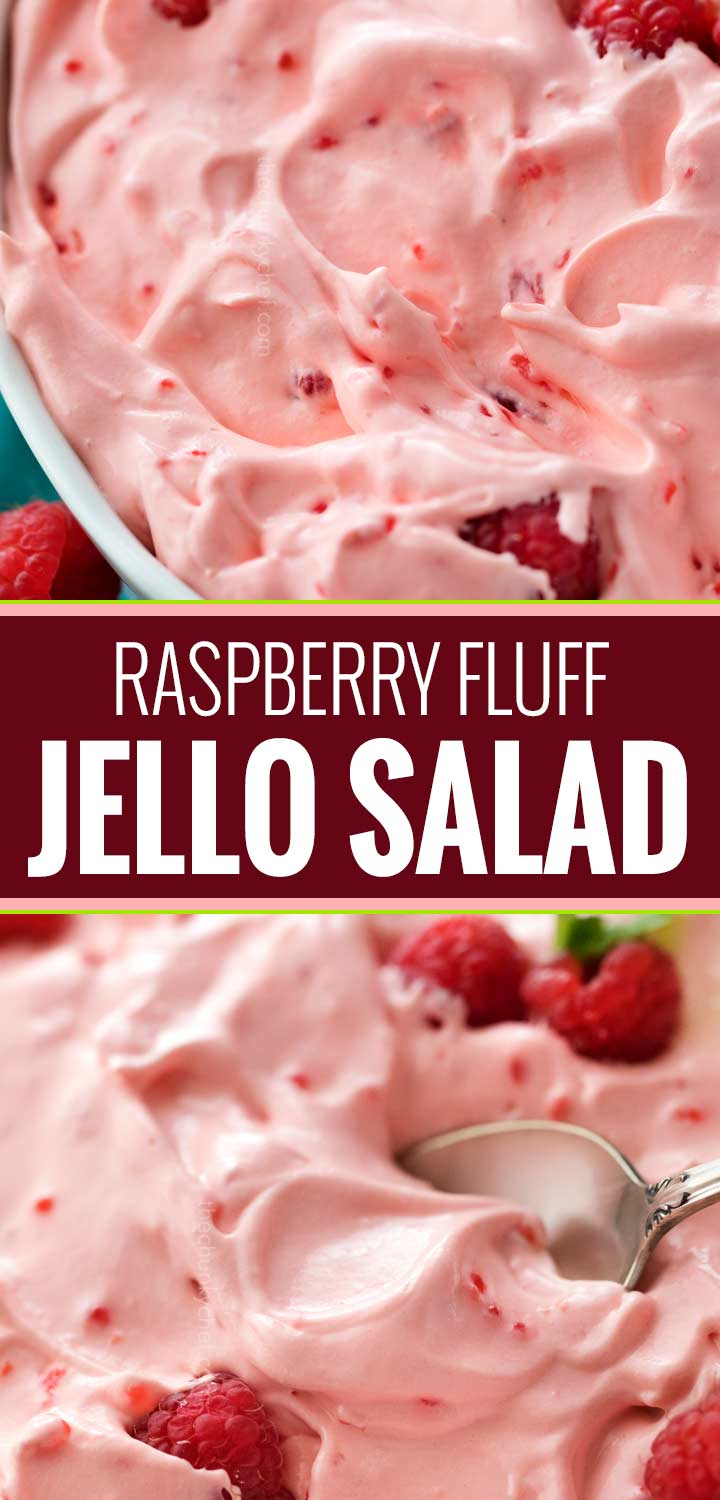 This make-ahead raspberry fluff jello salad dessert is made by using just a few ingredients and is perfect for potlucks and summer bbq's! | #jellosalad #dessertrecipe #fluff #raspberry #potluck
