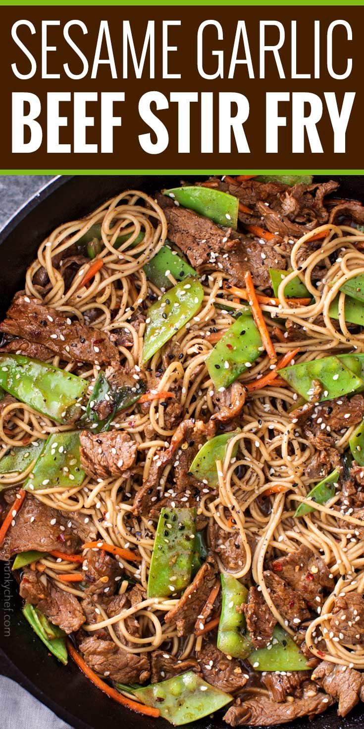 Tender slices of beef are stir fried with vegetables and tossed with authentic ramen noodles to make the most amazing 30 minute meal. Put down that takeout menu, this beef stir fry is WAY better! | #stirfry #beefstirfry #chinese #chinesefood #takeout #30minutemeal #beef