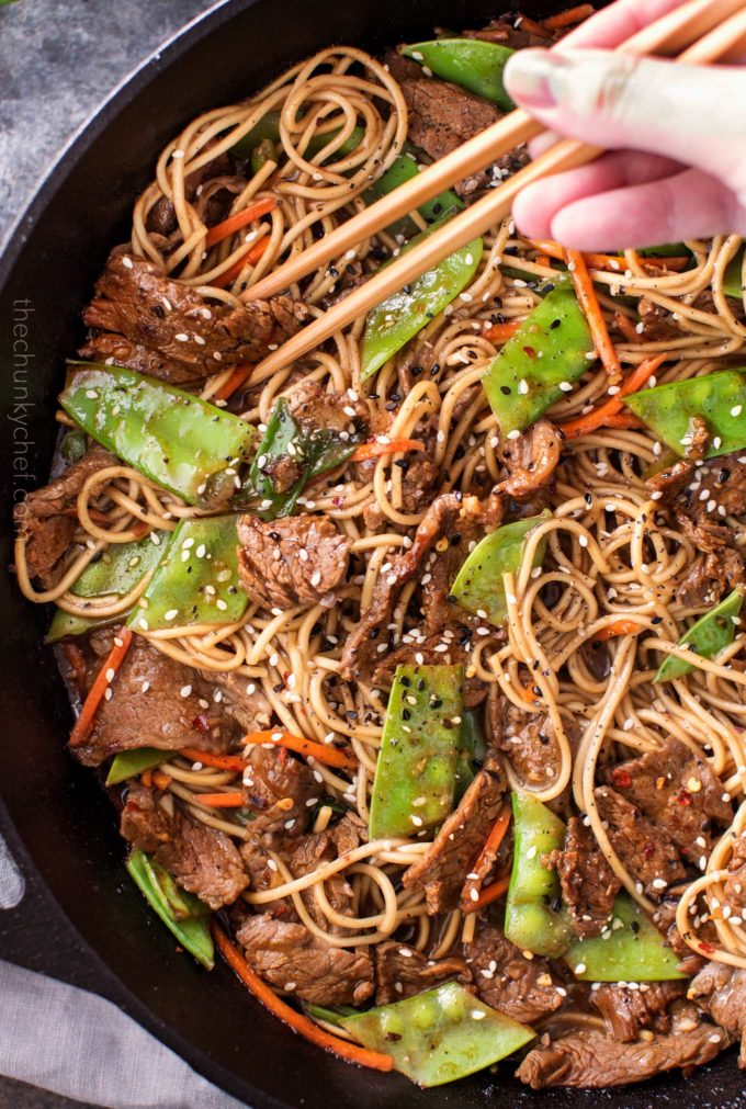 Stir fry recipe with beef, vegetables in skillet with chopsticks
