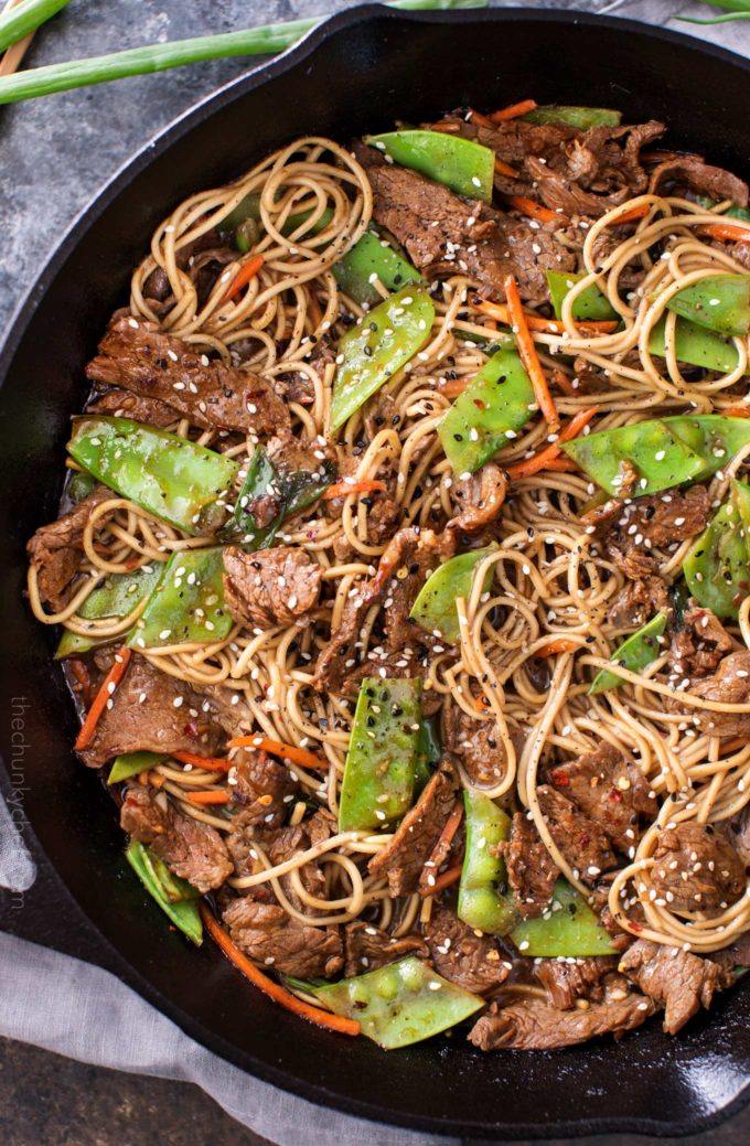 Tender slices of beef are stir fried with vegetables and tossed with authentic ramen noodles to make the most amazing 30 minute meal. Put down that takeout menu, this beef stir fry is WAY better!