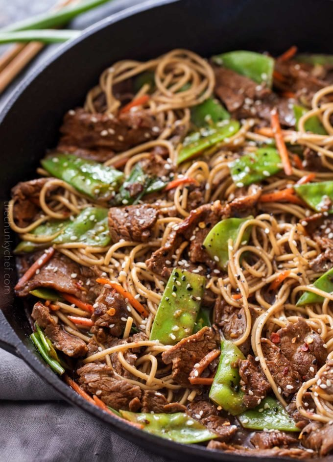 Beef stir fry recipe in skillet
