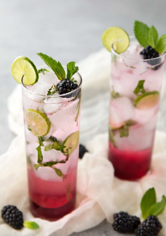 A fun summer twist on the classic mojito, this blackberry mojito is made with an easy homemade blackberry simple syrup, mint, lime, rum and club soda!