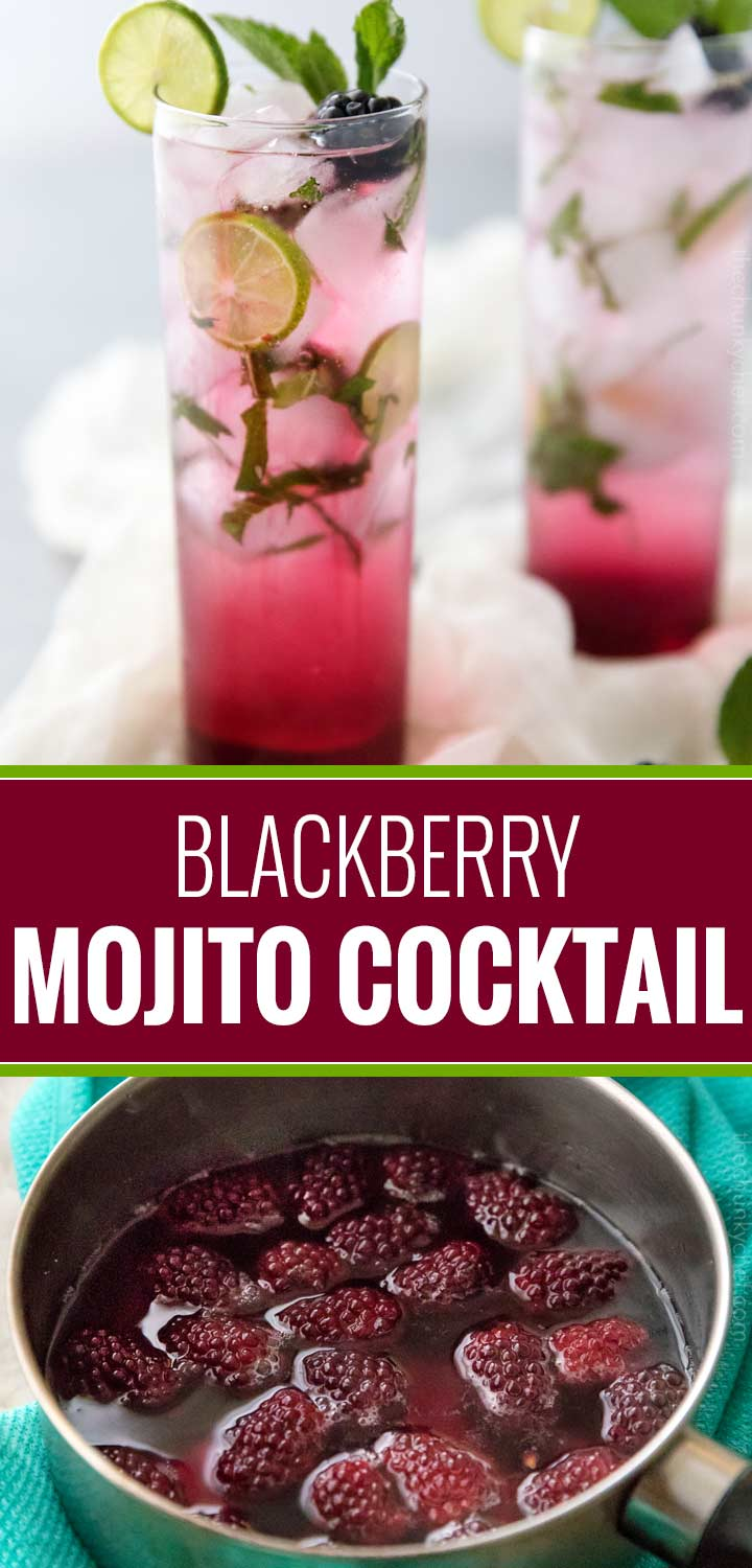 A fun summer twist on the classic mojito, this blackberry mojito is made with an easy homemade blackberry simple syrup, mint, lime, rum and club soda! | #mojito #blackberry #blackberrymojito #cocktail #summer #summerdrink