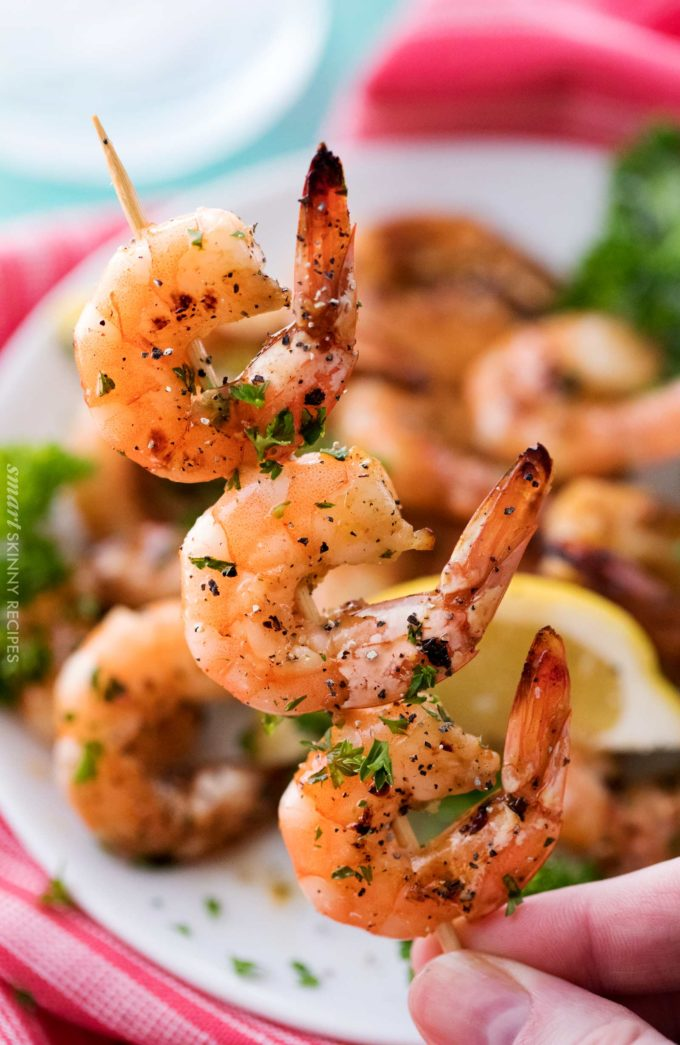 Honey lemon shrimp skewers