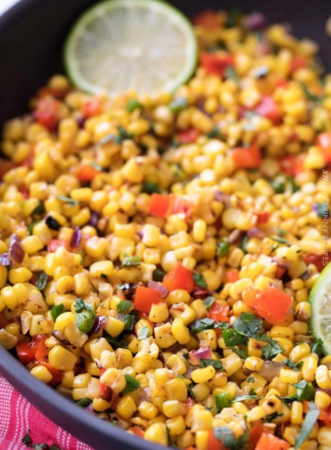 Cilantro lime corn salad recipe in skillet