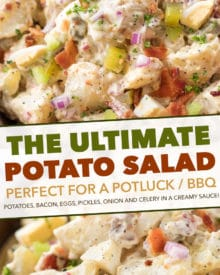 """This Potato Salad is my FAVORITE summertime recipe! Added tips on how to get the perfect potato texture, prevent a """"wet"""" potato salad, and how to add extra zing that will make everyone want the recipe! #potatosalad #potatoes #salad #potluckrecipe #summer #salad #sidedish #picnic"""