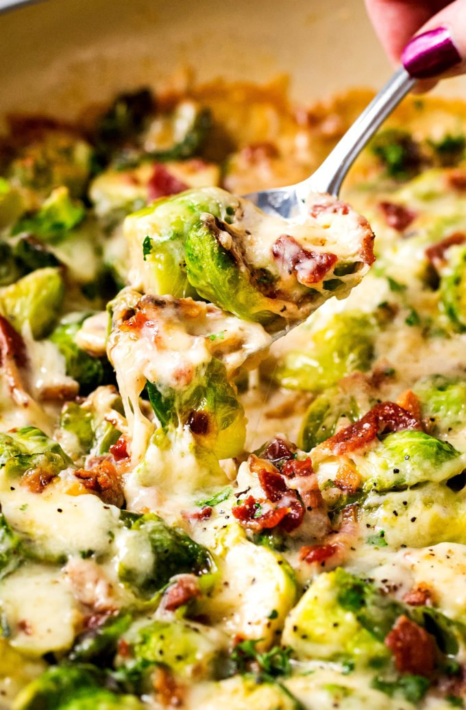 Spoonful of cheesy brussels sprouts
