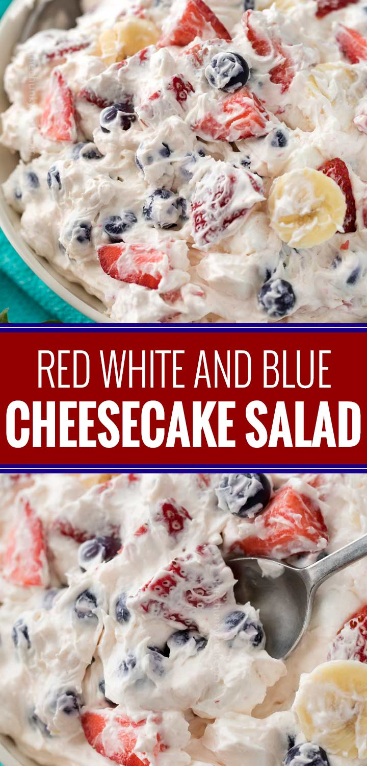 This simple 5 ingredient cheesecake salad is loaded with fresh berries, bananas, and a creamy no bake cheesecake filling! #cheesecakesalad #redwhiteandblue #4thofjuly #summerfood #fruitsalad #nobakedessert #dessertrecipe