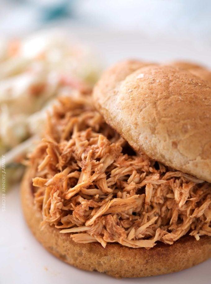 BBQ chicken on bun