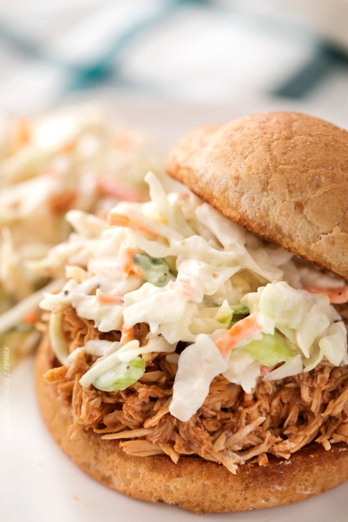 Bbq shredded chicken on bun with coleslaw