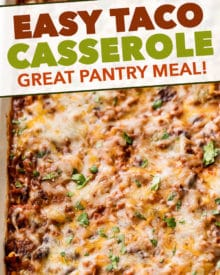 All the flavors of taco night that you love, in a comforting casserole to feed a crowd! Made using almost all pantry staple ingredients, it's a perfect meal to make when you can't get to the grocery! #taco #tacocasserole #mexican #freezermeal #casserole #makeahead #tacotuesday