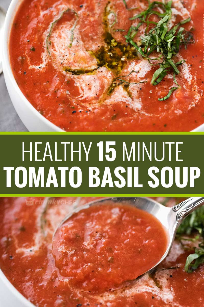 This tomato basil soup takes only 15 minutes to make, yet is positively bursting with flavors you'd expect from a soup that's been simmering all day! #tomatosoup #tomatobasil #healthyeating #15minmeal #weightwatchers #smartpoints