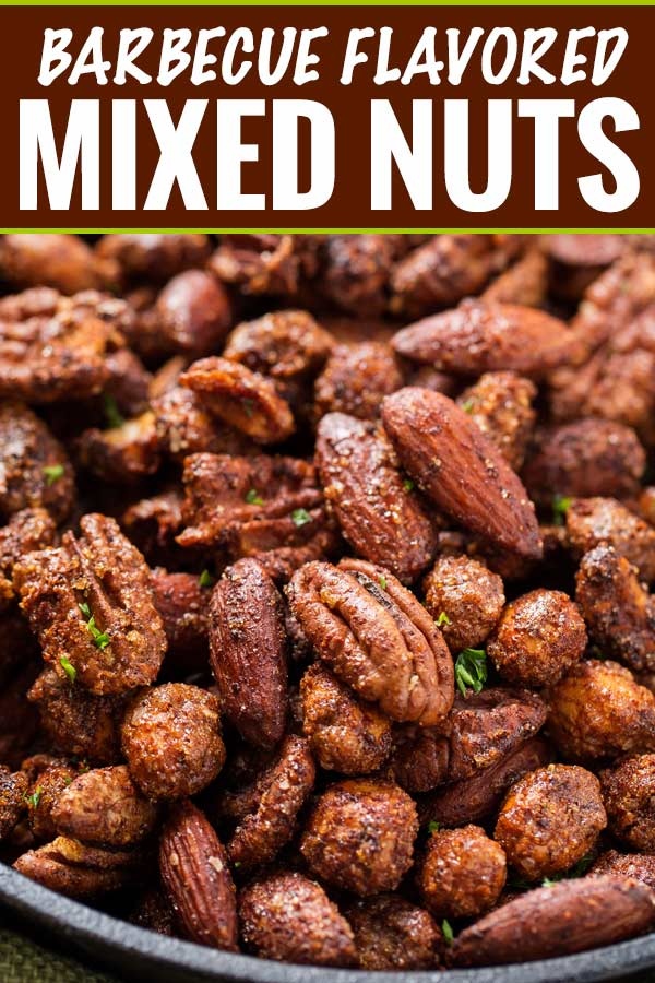 Once you try a few of these mouthwatering barbecue flavored roasted nuts, you'll never buy flavored nuts again! Homemade tastes so much better! #mixednuts #roastednuts #spicednuts #bbq #barbeque #barbecue #barfood #snackfoods #partyfood