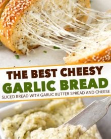 The easiest cheesy garlic bread ever! Frozen bread doesn't stand a chance against this buttery, gooey and toasty bread! #garlicbread #garlic #bread #easyrecipe #homemade #cheesy #cheesybread #italian