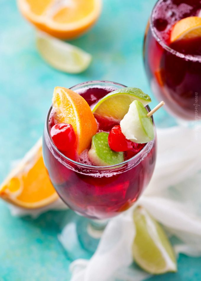 Copycat Applebee's Sangria recipe in goblet