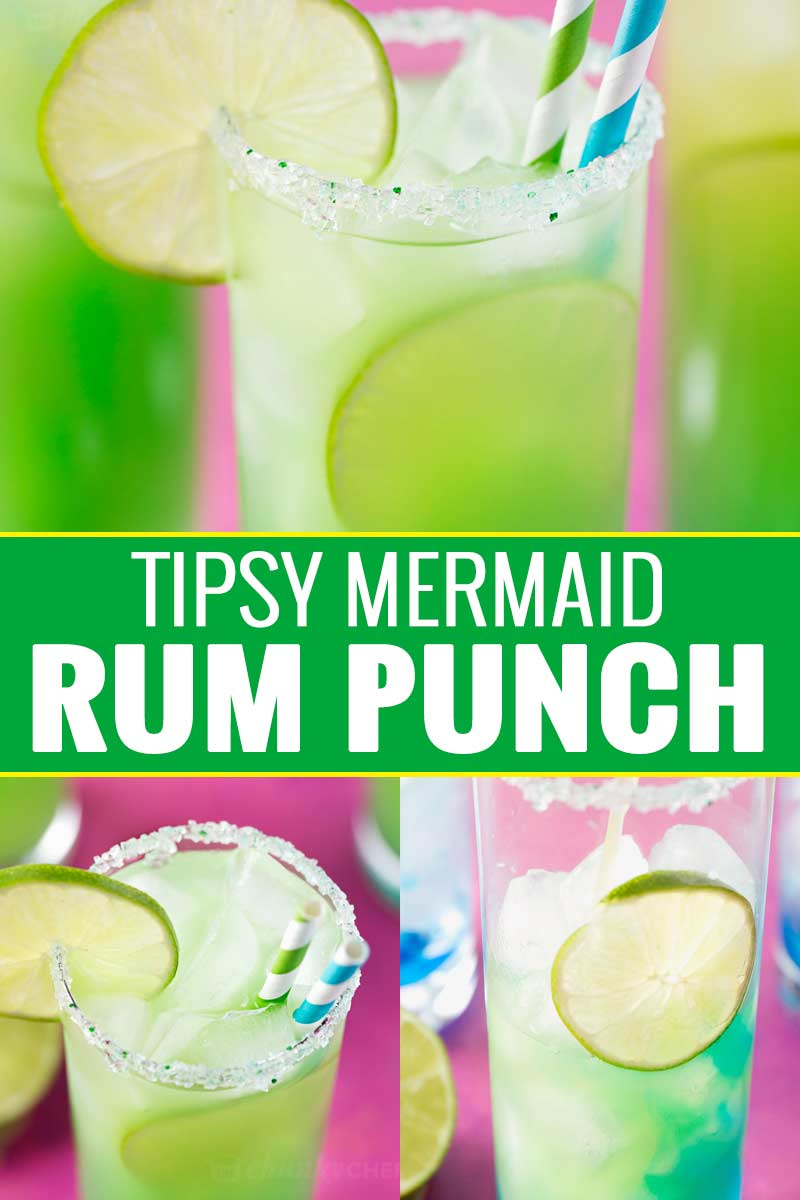 Tropical, sweet, and beautifully colored, this is one rum punch you have to try! #rum #rumpunch #punch #summer #drink #cocktail #mermaid
