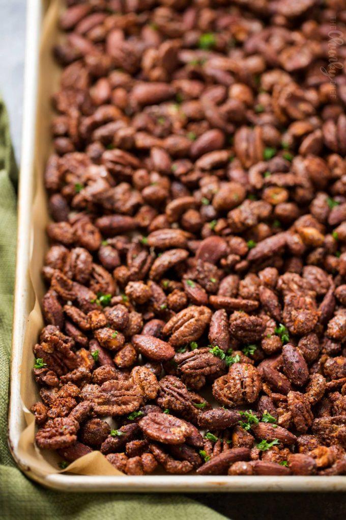 Sheet pan of roasted mixed nuts