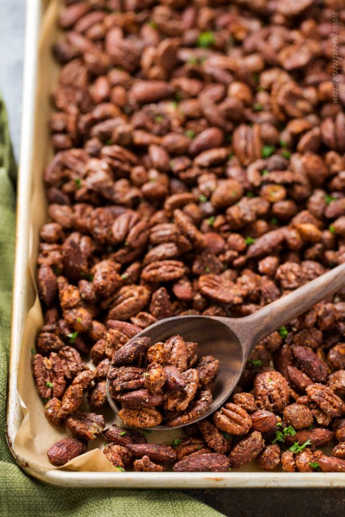 Spoonful of roasted mixed nuts