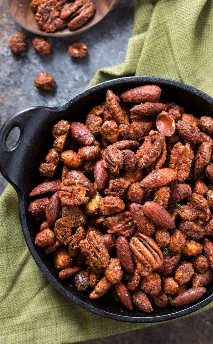 Looking down on a serving dish of barbecue roasted nuts