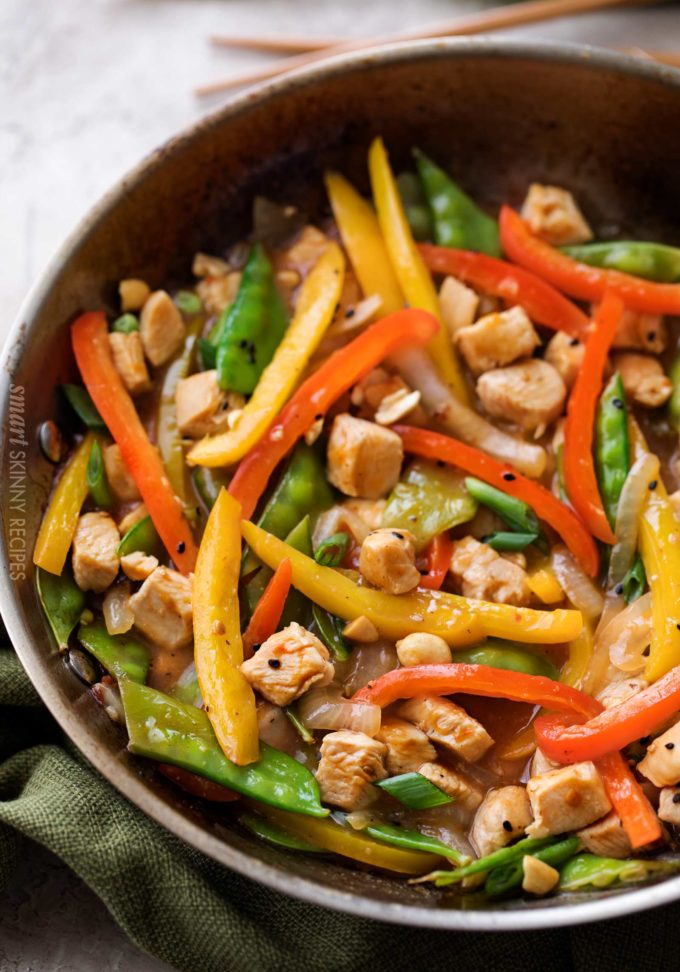 Skillet with chicken stir fry