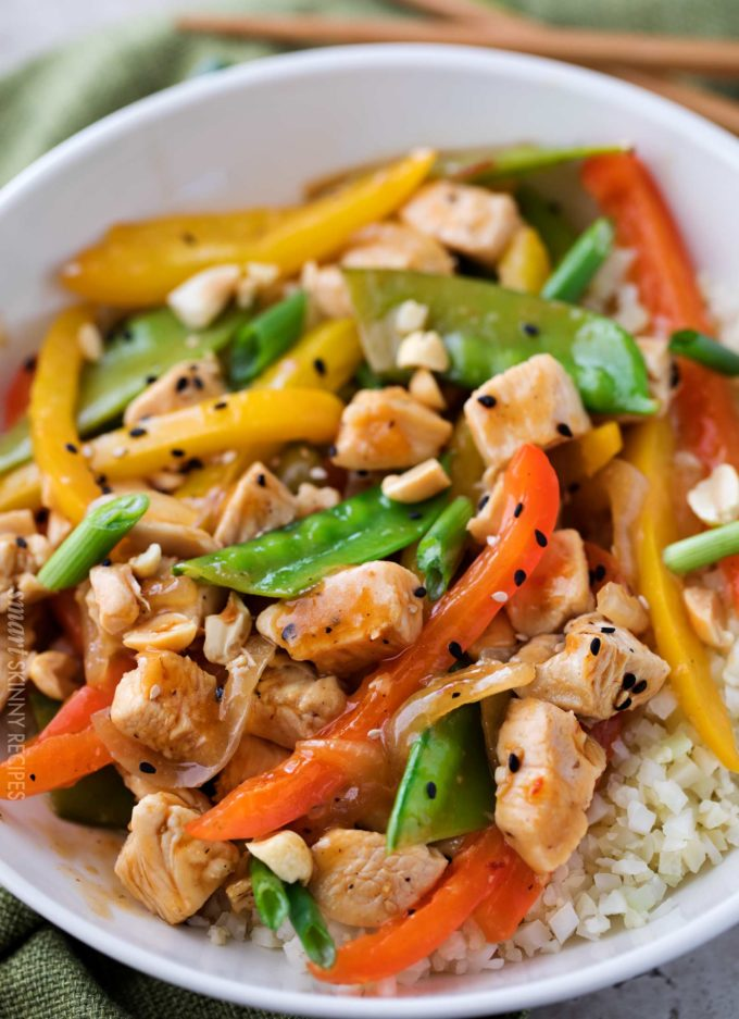 Szechuan chicken stir fry over cauliflower rice