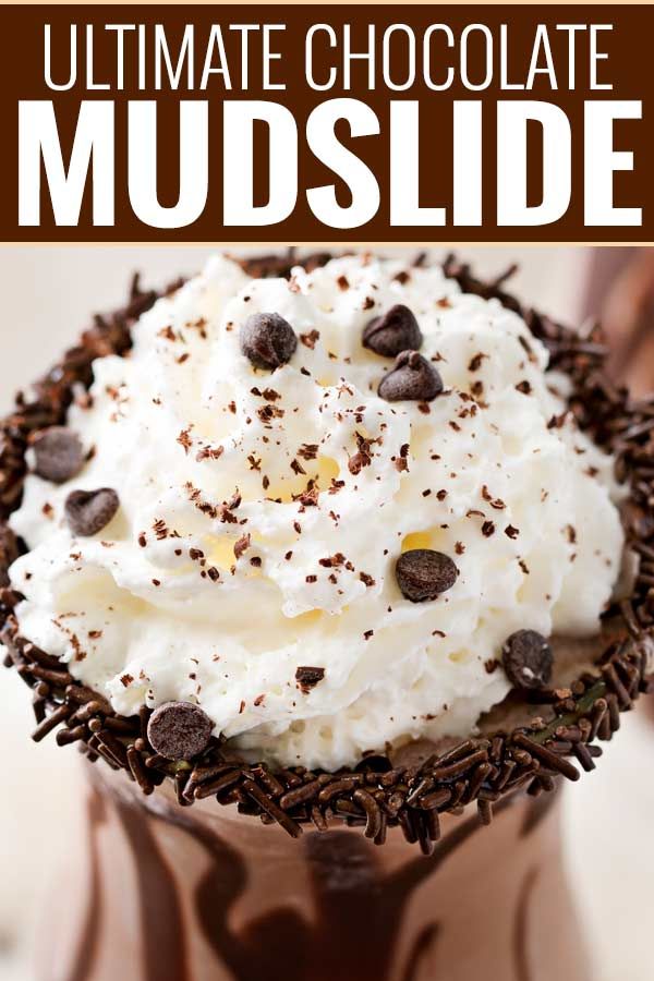 Thick, rich, and delicious this mudslide recipe is made extra chocolatey with the addition of some chocolate vodka, creme de cacao, and chocolate ice cream! There's nothing better than a boozy milkshake! #milkshake #boozymilkshake #adultmilkshake #mudslide #mudsliderecipe #chocolaterecipes