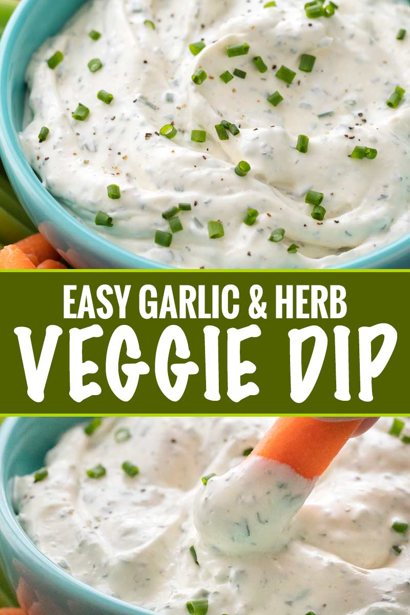 Perfect for football parties or any gathering, this creamy vegetable dip is full of garlic and herb flavors!  Plain ranch can't hold a candle to this easy veggie dip! #dip #diprecipe #vegetables #veggiedip #partyfood #snacks
