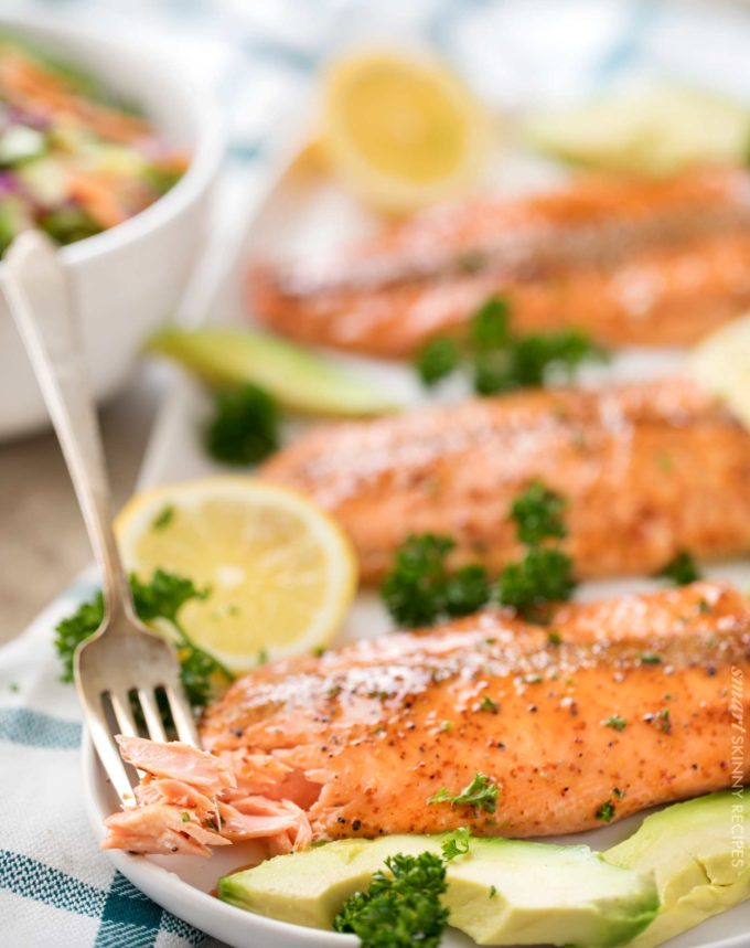 Forkful of broiled salmon filet