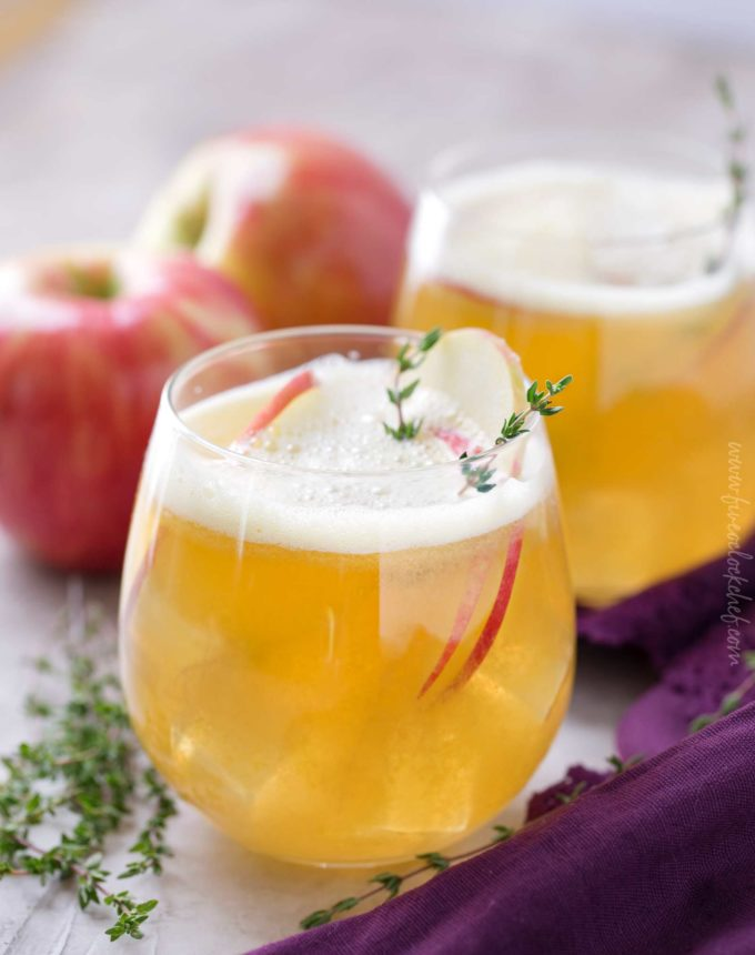 Maple bourbon cocktail with apples