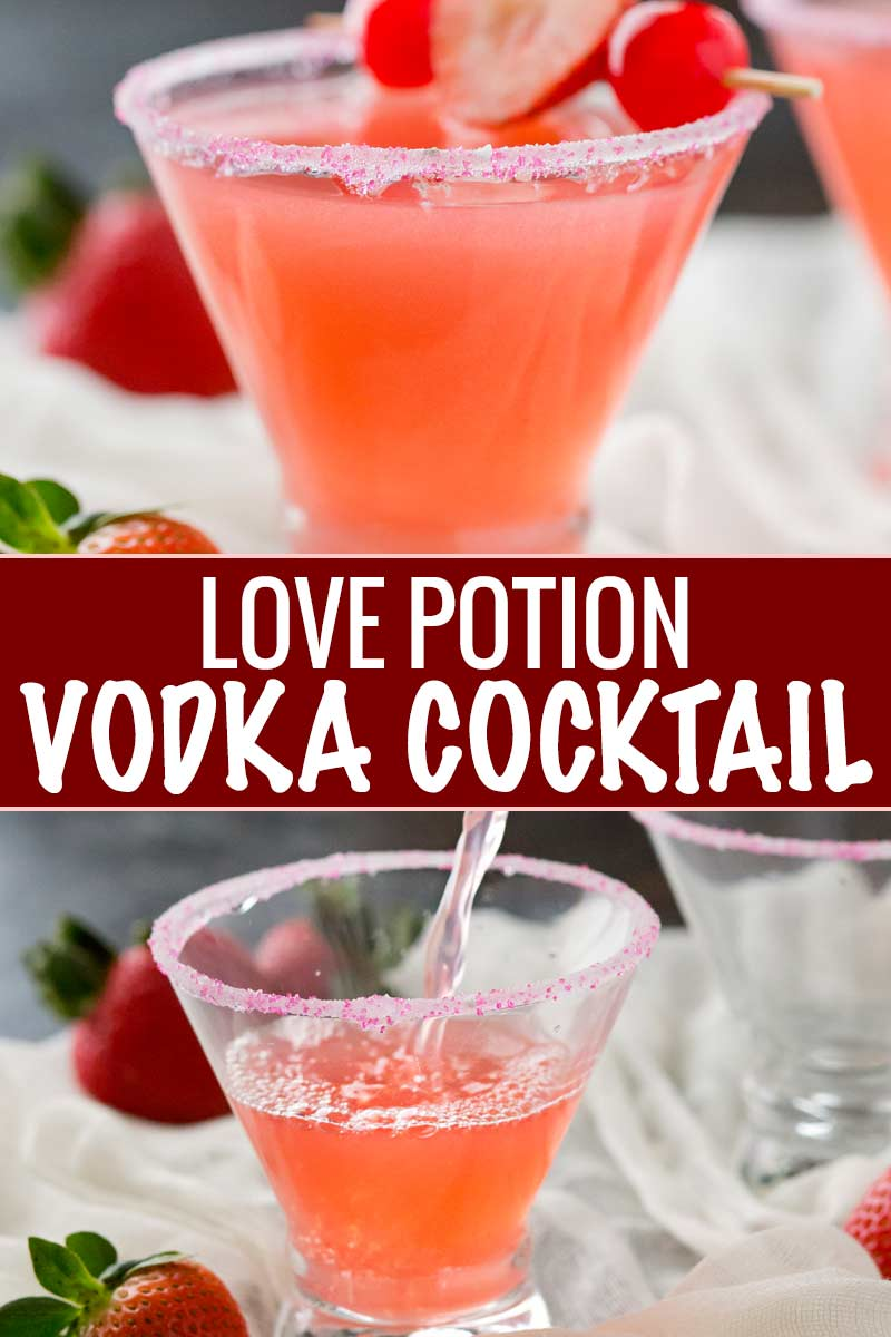 The best drink for Valentine's Day or summer, this love potion cocktail is made with just 3 ingredients and is sure to put you in a lovin' mood. #cocktail #drinks #vodka #love #valentinesday #pink #summerdrink