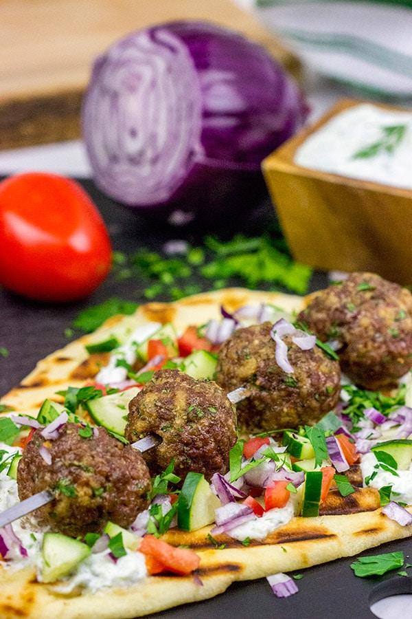 Mediterranean Meatball Kabobs