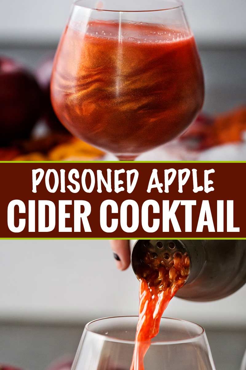 Perfect for Fall and Halloween, this sweet and eerily beautiful cocktail is made with just a handful of ingredients, and tastes every bit as great as it looks! #cocktail #drink #applecider #Halloween #Fall #falldrink #drinks #lusterdust #viniq