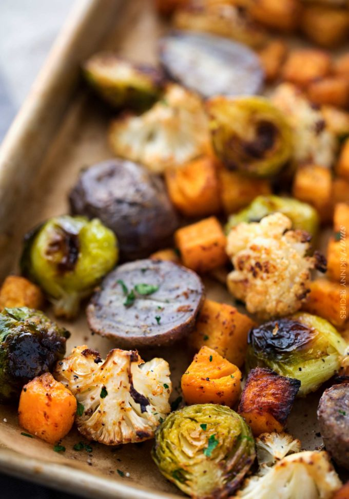 Oven roasted vegetables on sheet pan