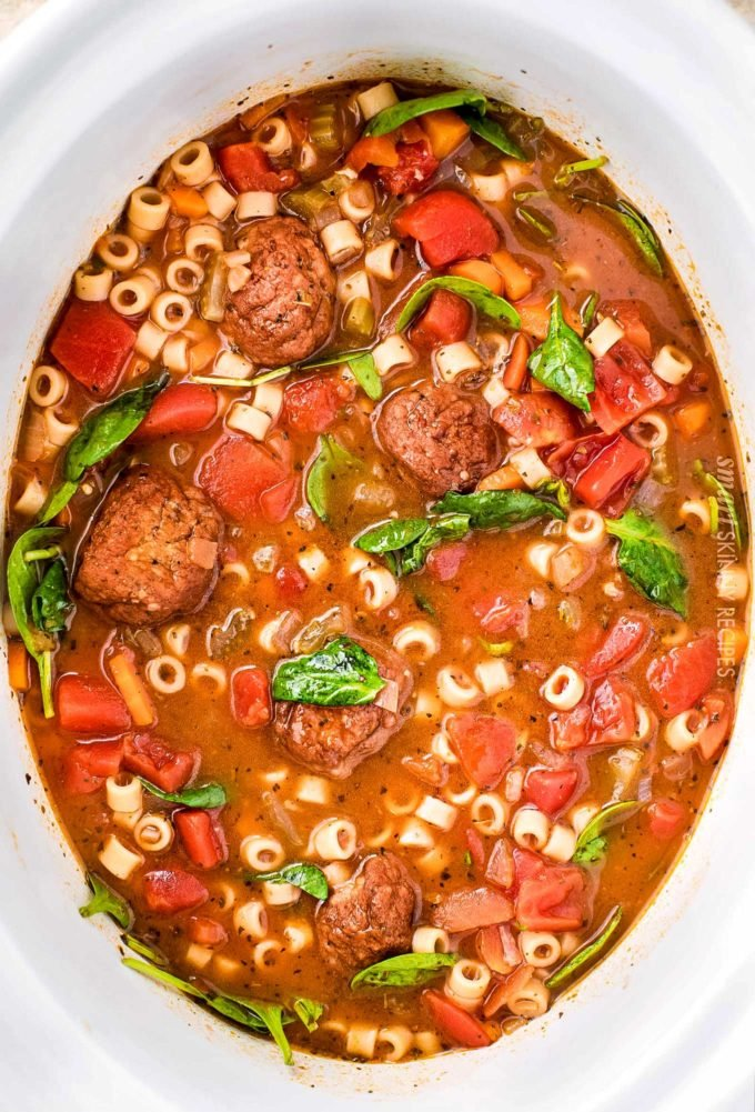 Italian meatball soup in crockpot