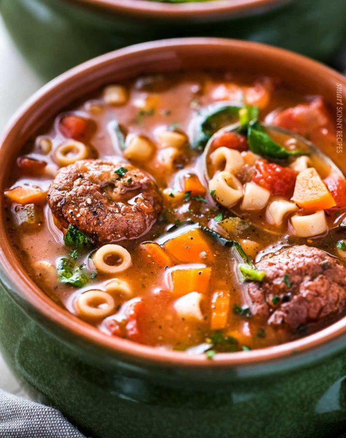Bowl of hearty Italian meatball soup