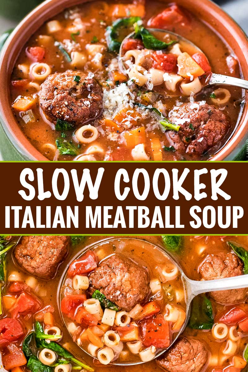 This Slow Cooker Italian Meatball Soup is hearty, easy, and incredibly satisfying!  You'll never guess it's only 4 smart points per serving. #italian #meatball #soup #slowcooker #crockpot #weightwatchers #smartpoints #comfortfood