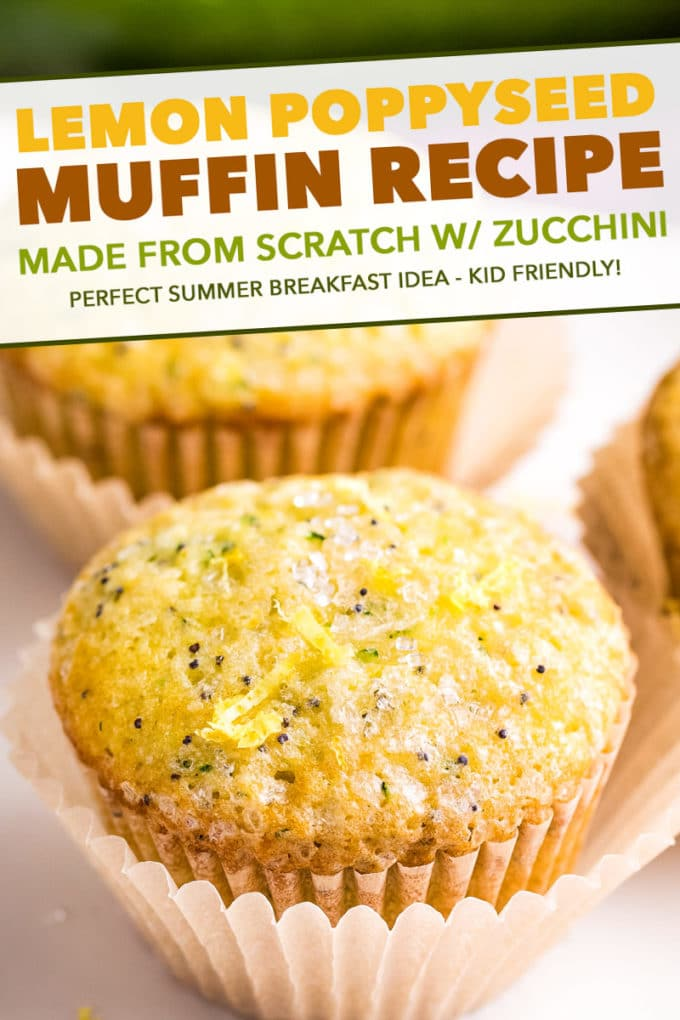 Bakery-style lemon poppy seed muffins that have the most amazingly soft and fluffy texture, and are complete with a crunchy sugary crust on top! Grated zucchini adds nutrition and fun color! #muffins #lemon #poppyseed #bakerystyle #easyrecipe #brunch #breakfast #spring #baking #zucchini