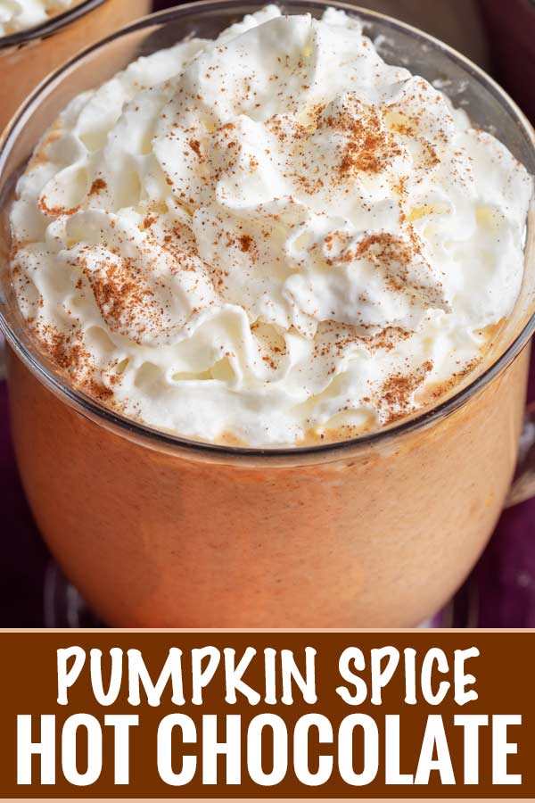 This pumpkin spice hot chocolate is made with white chocolate and real canned pumpkin... and tastes like pumpkin pie in a mug!  Warm up this Fall! #pumpkin #pumpkinspice #hotchocolate #whitechocolate #Fall #falldrink #hotcocoa