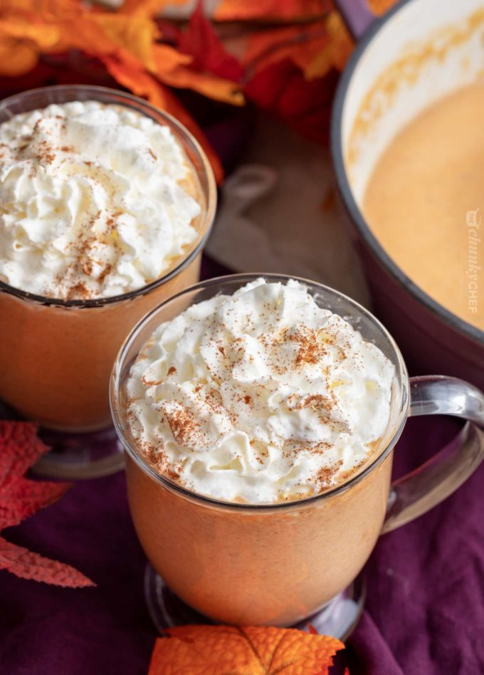 Glass mug of pumpkin spice latte hot chocolate