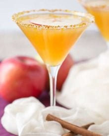 Sweet spiced apple cider mixed with caramel flavored vodka, shaken over ice and served with a slice of sweet apple as a garnish! #martinirecipe #applemartini #vodka #applecider #falldrink #fall #caramelapple #caramel #vodka