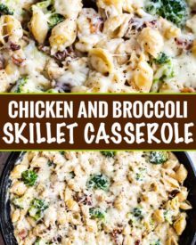 Ultra creamy and rich, this Cheesy Chicken Casserole with Broccoli and Bacon is a great weeknight dinner that the whole family will LOVE! #casserole #skillet #chicken #kidfriendly #weeknightdinner #weeknightrecipe #easyrecipe #dinner #cheesy