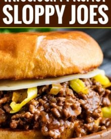 Tangy and savory Mississippi pot roast flavors come together in this quick-cooking sloppy joe recipe! Perfect for a kid-friendly weeknight meal! #sloppyjoe #mississippiroast