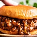 Perfect for quick dinner, these family-favorite homemade sloppy joes are ready in 30 minutes or less! The silky rich sauce is ultra flavorful with a zesty kick! #sloppyjoes #weeknight