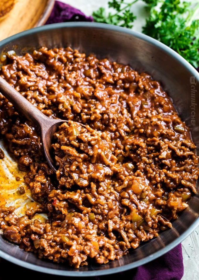 Sloppy joe recipe in skillet