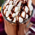 Make creamy hot chocolate for the whole party, right in your slow cooker! This hot chocolate is made with plenty of nutella for a creamy hazelnut drink that's absolutely amazing! #hotchocolate #crockpothotchocolate #hotchocolaterecipes #nutella #holidaydrinks #hotcocoa #cocoa #chocolate #drink