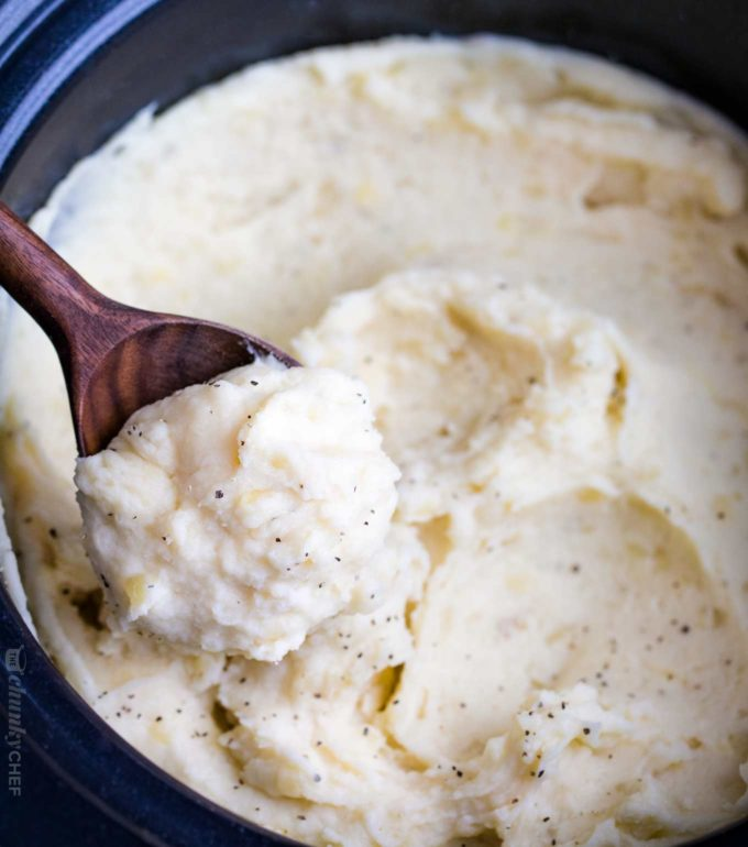 Crockpot mashed potatoes on spoon