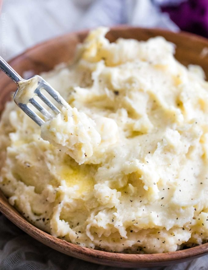 Forkful of mashed potatoes