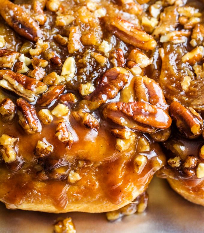 Close up of pecan sticky buns
