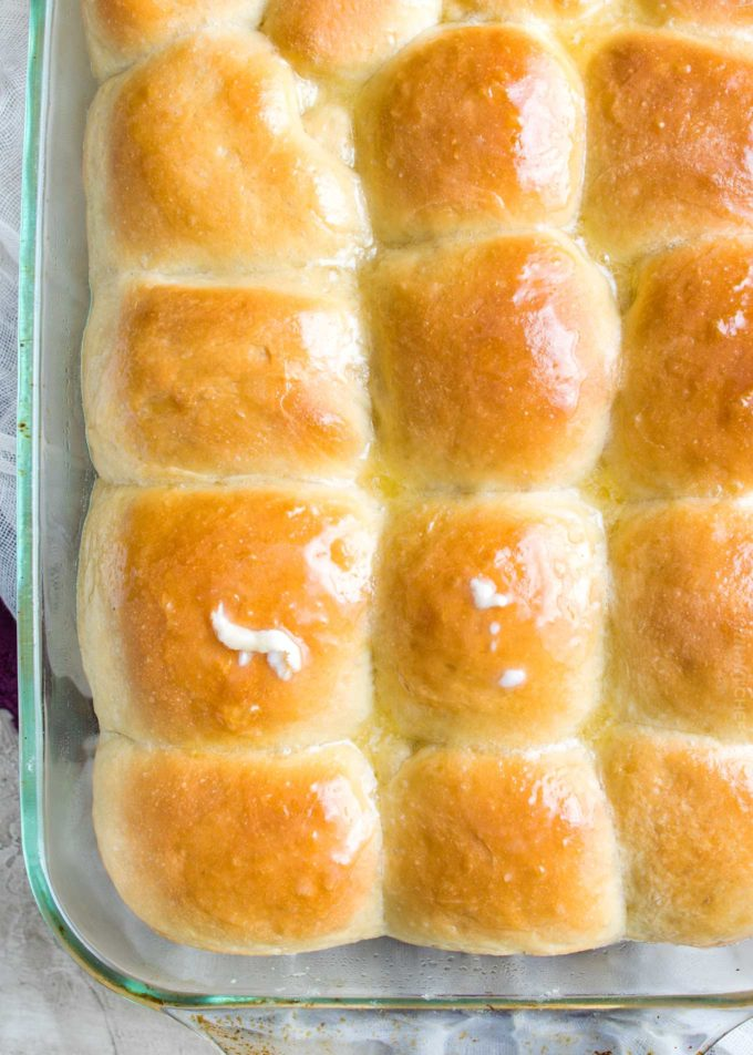 Dinner rolls in baking pan