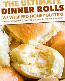 These easy, fool-proof homemade dinner rolls served with whipped honey butter are perfect for your Easter or holiday dinners!  With a make-ahead option, you'll be amazed at how easy it is to make bakery-quality rolls in your own kitchen! #dinnerrolls #rolls #Easter #bread #homemade #yeast #thanksgiving #honey